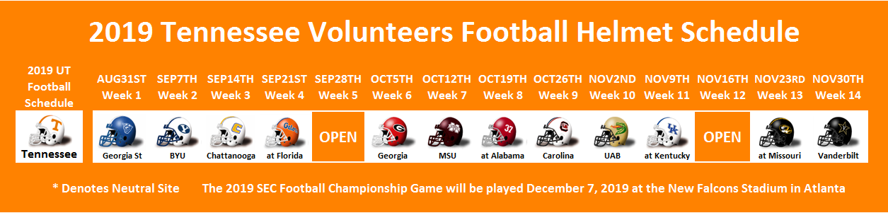 2019 Tennessee Football Helmet Schedule